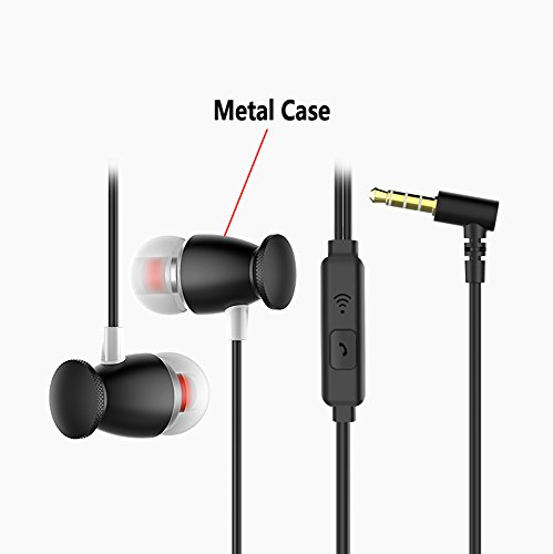 In-ear earphones, Licoers Universal 3.5mm In-Ear Headphones Earphones Plug Stereo Noise Cancelling Earbuds Sports Earphone With Mic for iPhone Android Phone iPad Tablet Laptop (Black)