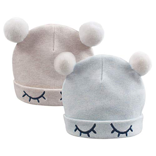 Cotton Newborn Hat Boy Girl Beanie Infant Hospital Cap Soft No Scratch Mittens for 0-4Months