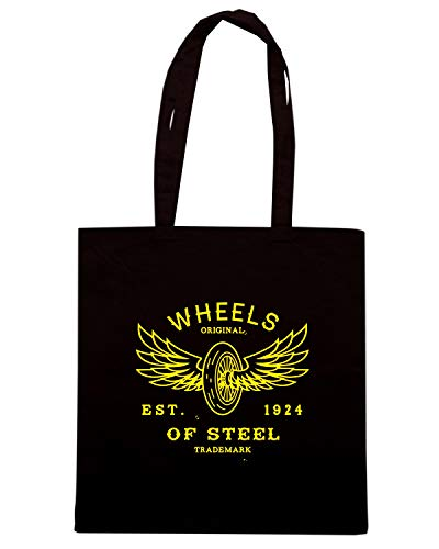 Speed Shirt Borsa Shopper Nera TB0468 VINTAGE LABEL WITH WHEEL AND WINGS PRINT