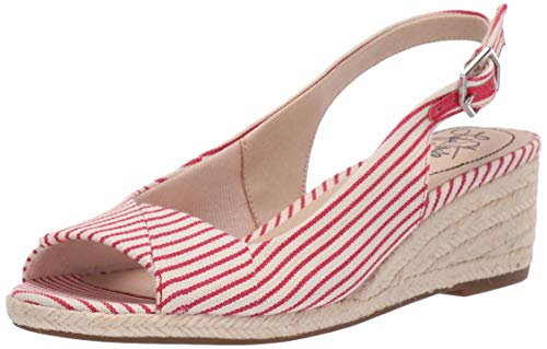 Slingback Espadrille Wedge - LifeStride Women's Socialite Espadrille Wedge Sandal, Red/White, 7 M US