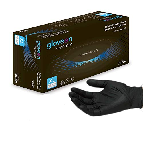 - Disposable Nitrile Gloves (Black) - 5 mil, Medical Grade, Latex Free, Powder Free, Standard Cuff (100 Count by Weight, Size Large)