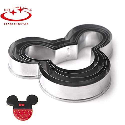 5 PCs/Set Mickey cake mold Kitchen Bakeware Baking Tools Biscuit Mickey Cookie Cutter and Cookie Stamps]()