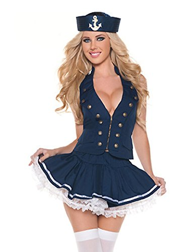 Naval Captain Costume (PINSE Sexy Girl Naval Captain Sailor Costumes)