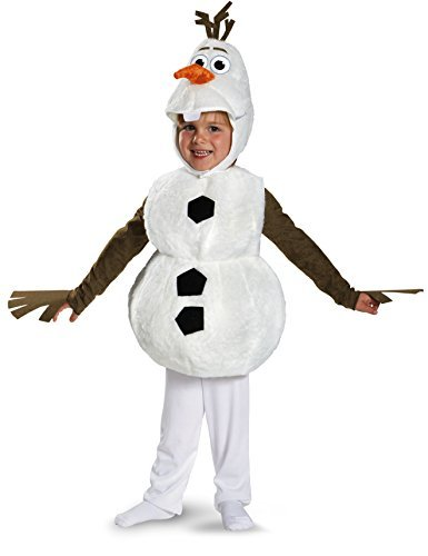 Disguise Baby's Disney Frozen Olaf Deluxe Toddler Costume,White,Toddler XS (12-18 (Christmas Costume For Toddler)