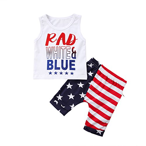 2Pcs/Set Baby Boy Patriotic 4th of July Outfits,Sleeveless T-Shirt Top+Harem Pants (White, 18-24 Months)
