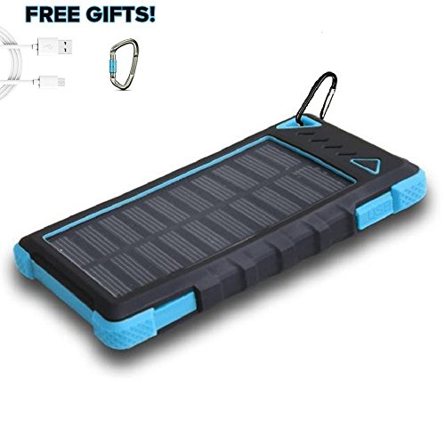 PowerLocus Solar Power Bank for iPhone Android Samsung, 12000mAh Dual USB Port Universal Ultra-Slim Waterproof Portable Solar Powered Cell Phone Battery Charger for iPad Tablet Camera GPS(Blue) (Solar Powered Ipad Charger compare prices)