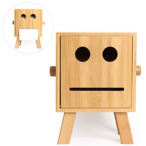 HoroM Toilet Paper Holder Creative Robot Style Bamboo Bathroom Tissue Box Cover