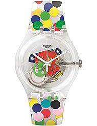 Swatch Womens New Gent SUOZ213 Clear Silicone Swiss Quartz Watch