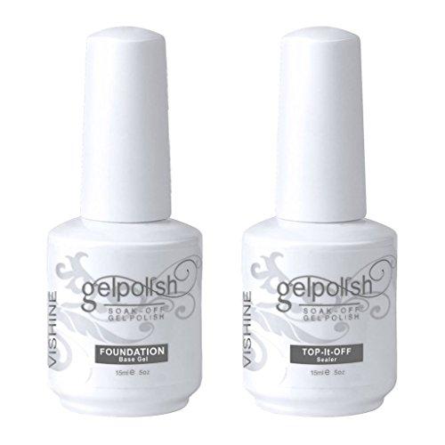 (Vishine Long Lasting Soak Off Nail Polish Base + Top Coat Set Gel 15ml)