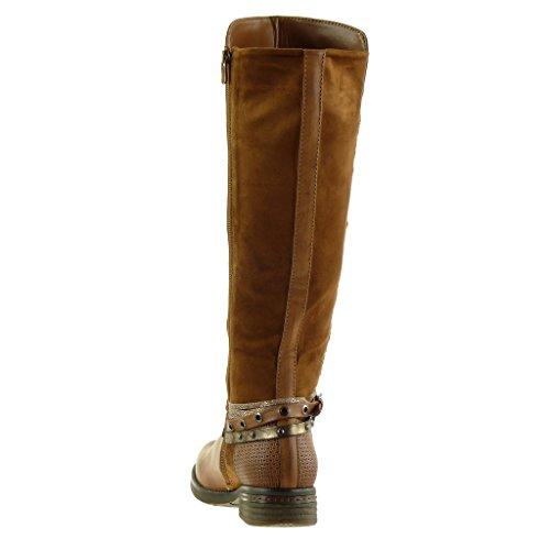 Angkorly - damen Schuhe Stiefel - Reitstiefel - Kavalier - Biker - bi-Material - Geflochten - Multi-Zaum - Nieten - besetzt Blockabsatz high heel 3.5 CM Camel