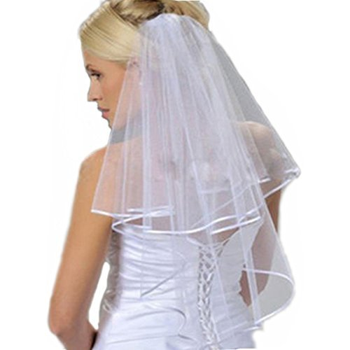 HUICHENGYAO Women's Cheap White Ivory Tulle Bridal Veils Two Layer Ribbon Edge Wedding Veil with Comb,White,One (Short Veil)