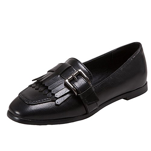 Carolbar Women's Chic Fashion Tassels Flat Buckle Square Toe Court Shoes Black 8abHJ