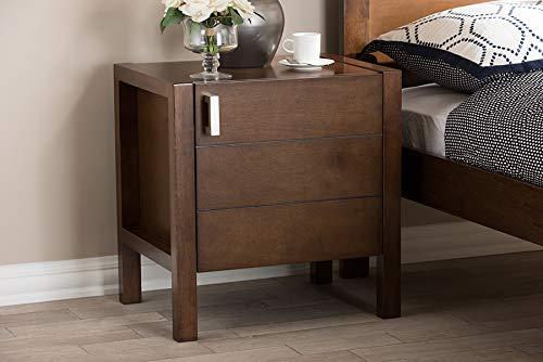 Baxton Studio Mandel Modern and Contemporary Brown Wood Nightstand/Contemporary/Brown/Rubber -