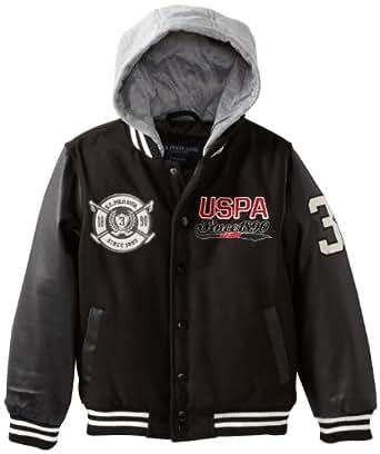 U.S. Polo Association Little Boys' Comfort Varsity Jacket With Attached Sherpa Lined Fleece Hood, Black, 7