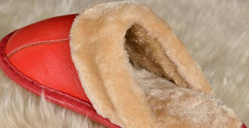 Cattior Mujeres Fur Comfy Indoor Zapatillas De Casa Al Aire Libre Zapatillas De Cuero Rojo