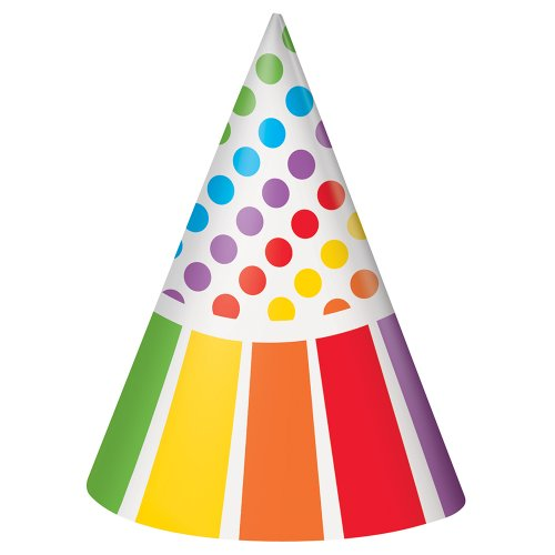 Rainbow Party Hats, 8ct (Polka Dot Party Hat)