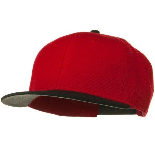 Otto Caps Wool Blend Flat Visor Pro Style Snapback Cap - Black Red (Ultrafit Wool Blend Cap)