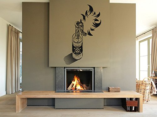 (Wall Vinyl Sticker Decals Mural Room Design Pattern Art Decor Fire Alcohol Drink Skull Bottle mi163)