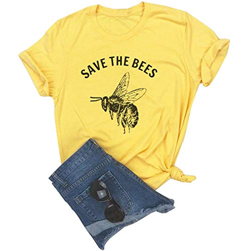 Anbech Save The Bees T Shirt Women Vintage Retro Graphic Yellow Casual Tee Tops Size L (Yellow)