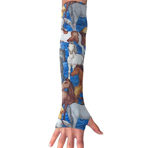 Horses Blue Arm Sleeves Sun Protective Arm Compression Cover Warmer Cooler