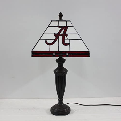 12-inch NCAA Alabama Crimson Tide Alphabet A Stained Glass Square Table Lamp