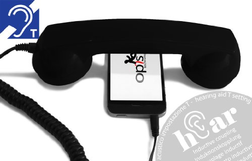 OPIS 60s Micro Hear: Retro Handset for use with Mobile Phone and Hearing aid (Black) (Best Cell Phone For Hearing Aids)