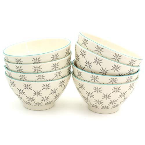 Euro Ceramica SIN-2273G Sintra Dining/Pasta Bowls, Set of 8, Grey by Euro Ceramica Inc.