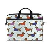 Ainans Dachshund Wallpaper 15 inch Laptop Case Shoulder Bag Crossbody Briefcase Messenger Sleeve for Women Men Girls Boys