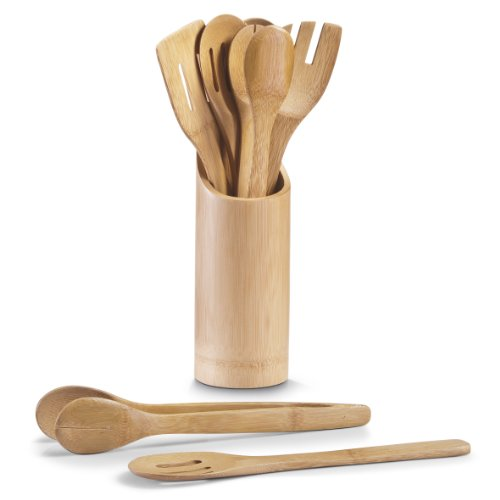 Zeller 25274 Küchenutensilienhalter, 7-teilig, Bamboo, Ø 9 x H 33 cm