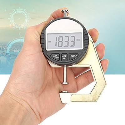 Pel/ícula Medidor de Espesor de Papel Alambre Pantalla Digital LCD Esponja Precisi/ón de 0.01 mm Papel para Medir Grosor del Cuero Tela Medidor de Espesor Digital0-12.7 mm