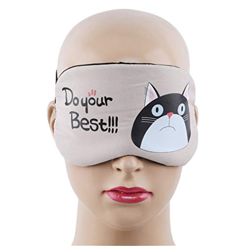 LZIYAN Sleeping Mask Cartoon Cat Sleep Eye Mask Breathable Travel Shade Cover Rest Relax Sleeping Blindfold Eye Patch,Khaki by LZIYAN (Image #3)
