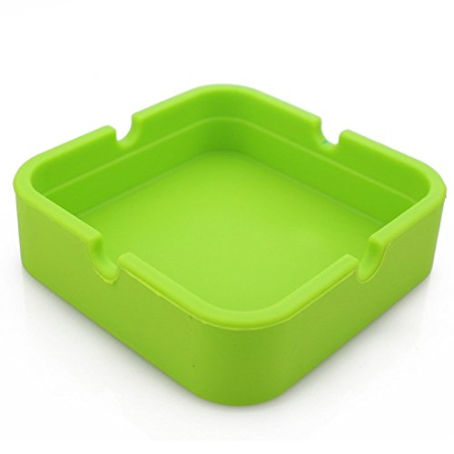 Hong Cheng(TM) Silicone Square Ashtray, Pack of 4,Colorfull Premium Silicone Rubber High Temperature Heat Resistant Square Design,Increase, Thickening, Hardness Higher of Ashtray (Green)