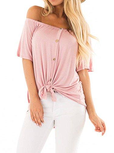 Women's Off The Shoulder Tops Short Sleeve Loose Plain T Shirt Tie Knot Tunic Blouse Pink Medium