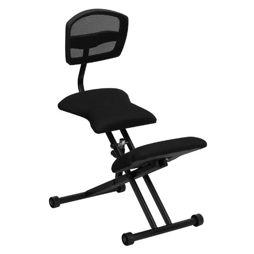 Flash Furniture Ergonomic Kneeling Chair with Back in Black