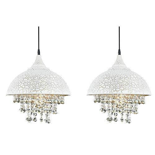 KIRIN 2 Pack Industrial Wrought Iron Vintage Crystal Pendant Light, Beads Bowl Hanging Pendant Light Chandelier for Restaurant Kitchen Island Kitchen Lighting (White)