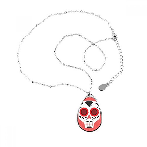 Flower-shaped Red Eyes Skull Mexico National Culture Illustration Teardrop Shape Pendant Necklace Jewelry With Chain Decoration Gift - Mexico Men National Costume
