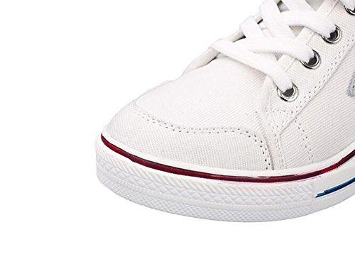 Wealsex Damen Sneakers Keilabsatz Sneaker-Wedges canvas Low top Sportschuhe Weiß