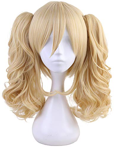 Morvally Short Straight Blonde Bob Wig with Two Jaw Claws Ponytail Hair for Cosplay Costume Halloween Wigs -