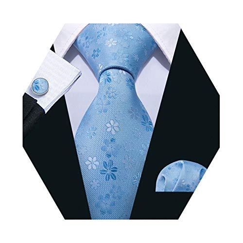 - Barry.Wang Mens Solid Tie Light Blue Floral Tie Pocket Square Cufflinks Set