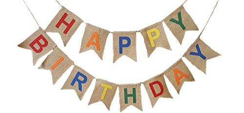 Rustic HAPPY BIRTHDAY Burlap Pennant Banner (Happy Birthday Pennant Banner)