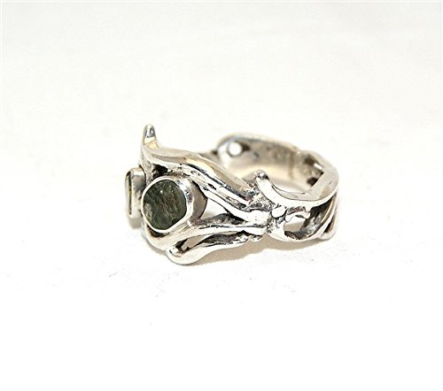 Moldavite & Green Tourmaline Ring Jewellery - Sterling Silver