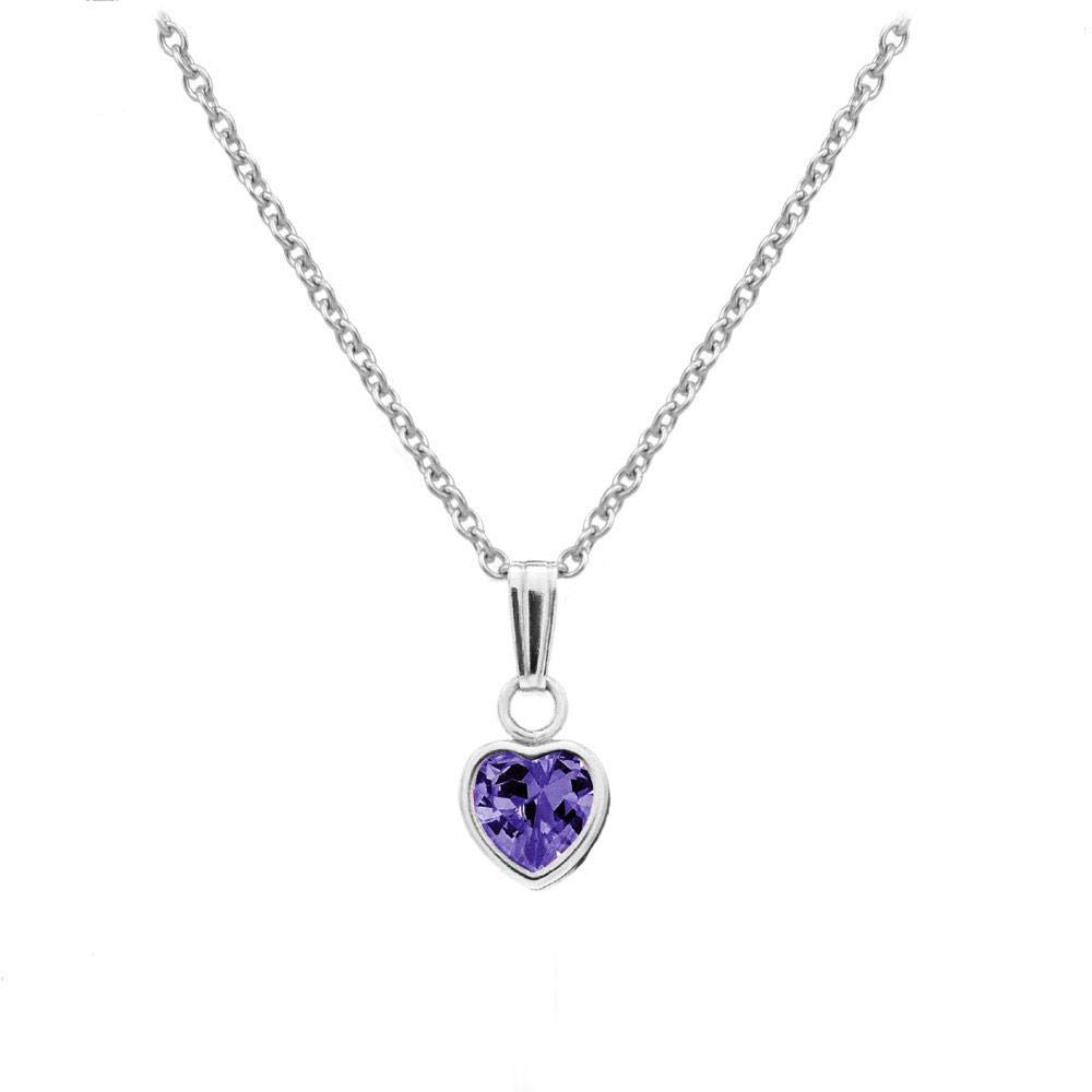 13 In Little Girls Sterling Silver Simulated Birthstone Heart Pendant Necklace Loveivy cngma-ss1303