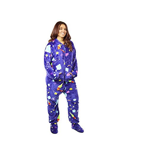 The Snooze Shack Ultra Plush Onesie Pajamas with Drop Seat Bottom and Feet - Outta This World (Medium)