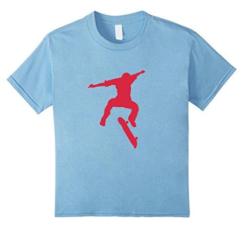 Kids Skateboard Kickflip Trick T-Shirt Funny Retro Vintage 10 Baby Blue