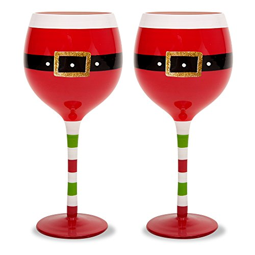 amazoncom christmas 169 oz santa belt wine glasses set of 2 santa belt wine glasses