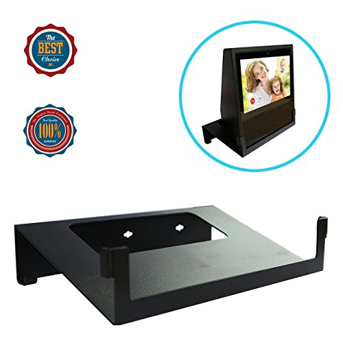 Wood Steel Audio Rack (Original Stand Holder Wall Mount Bracket For Echo Show Home Speaker - Change (Camera's) Angle and Protect Your Show Home Speaker Charger Cords Organizor, Easy to Install (Black Solid Metal))