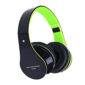 Doinshop Foldable Wireless Bluetooth Stereo Headset Mic for Iphone Samsung HTC (Cute Green)