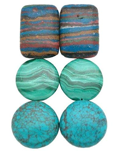 - Lot C - Malachite, Turquoise & Rainbow Calsilica Gemstones, 3 Earring Bead Pairs