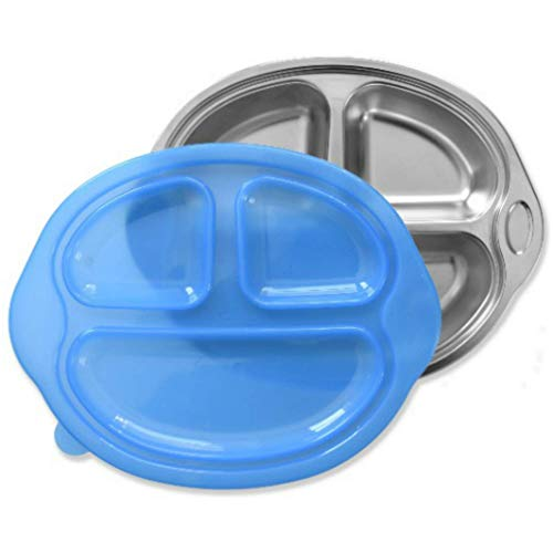 (Sage Spoonfuls Happy Foodie Stainless Steel Divided Kids Plate with Lid, Blue)