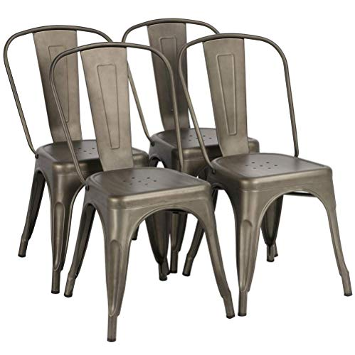 Yaheetech Iron Metal Dining Chairs Stackable Side Chairs with Back Indoor-Outdoor Classic/Chic/Industrial/Vintage Bistro Café Trattoria Kitchen Gun Metal,Set of 4 ()